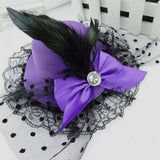 Lady's Mini Feather Bowknot and Lace Fascinator Hair Clip purple - Go Steampunk