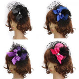 Lady's Mini Feather Bowknot and Lace Fascinator Hair Clip - Go Steampunk