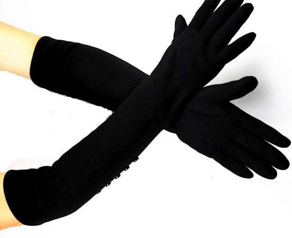 Elastic Knitted Cotton Gloves Black button style / 6 1/2 - Go Steampunk