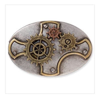 Spinning Gears Oval Concho - Go Steampunk