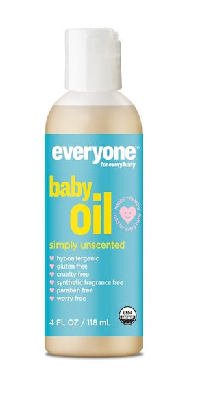 EVERYONE: Certified Organic Botanical Simply Unscented Baby Oil, 4 fl oz
