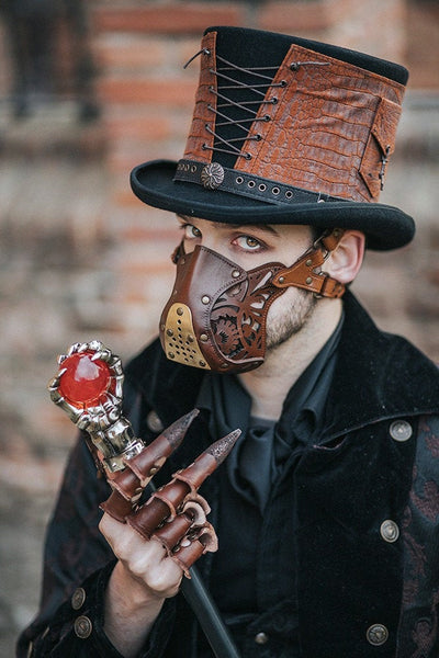 Steampunk Leather Armored Wasteland Mask - Go Steampunk