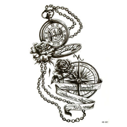 Pocket Watch and Compass Waterproof Temporary Tattoo