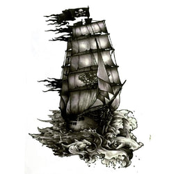 Black Pirate Ship Waterproof Temporary Tattoo - Go Steampunk