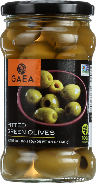 GAEA: Organic Pitted Green Olives, 4.9 Oz - Go Steampunk
