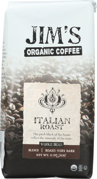 JIM'S ORGANIC COFFEE: Italian Roast Whole Bean, 11 Oz