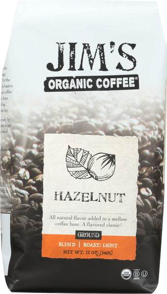 JIM'S ORGANIC COFFEE: Hazelnut Ground, 12 oz