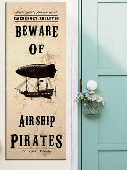 Steampunk Art Print Beware Airship Pirates