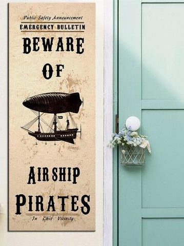 Steampunk Art Print Beware Airship Pirates - Go Steampunk