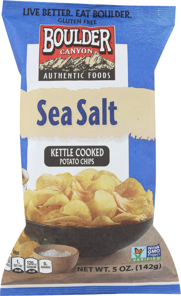 BOULDER CANYON: Sea Salt Kettle Cooked Potato Chips, 5 oz - Go Steampunk