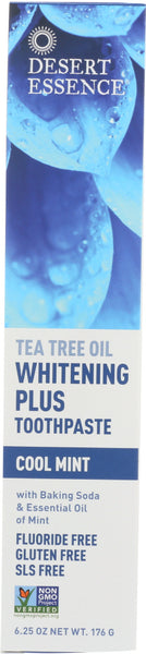 DESERT ESSENCE: Whitening Plus Toothpaste Tea Tree Oil Cool Mint, 6.25 oz