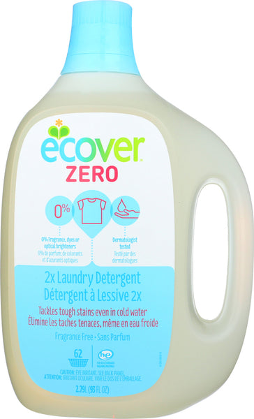 ECOVER: Zero Laundry Detergent 2X Concentrated 62 Loads Unscented, 93 oz