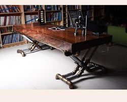 Retro Industrial Steampunk Wood and Wrought Iron Table