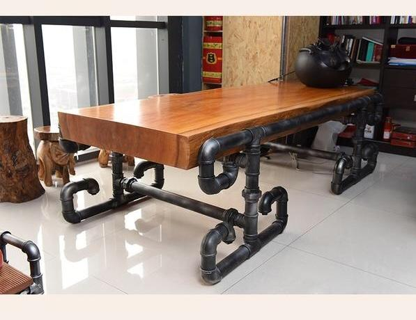 President's Solid Wood and Industrial Vintage Pipe Table