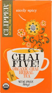 CLIPPER: Organic Chai Five Tea, 1.55 oz
