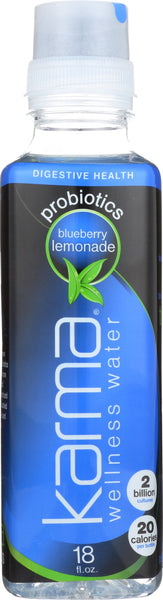 KARMA WELLNESS WATER: Probiotic Blueberry Lemonade beverage, 18 oz - Go Steampunk