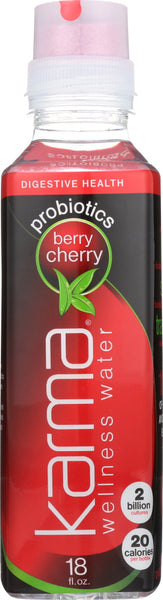 KARMA WELLNESS WATER: Probiotic Berry Cherry Beverage, 18 oz - Go Steampunk