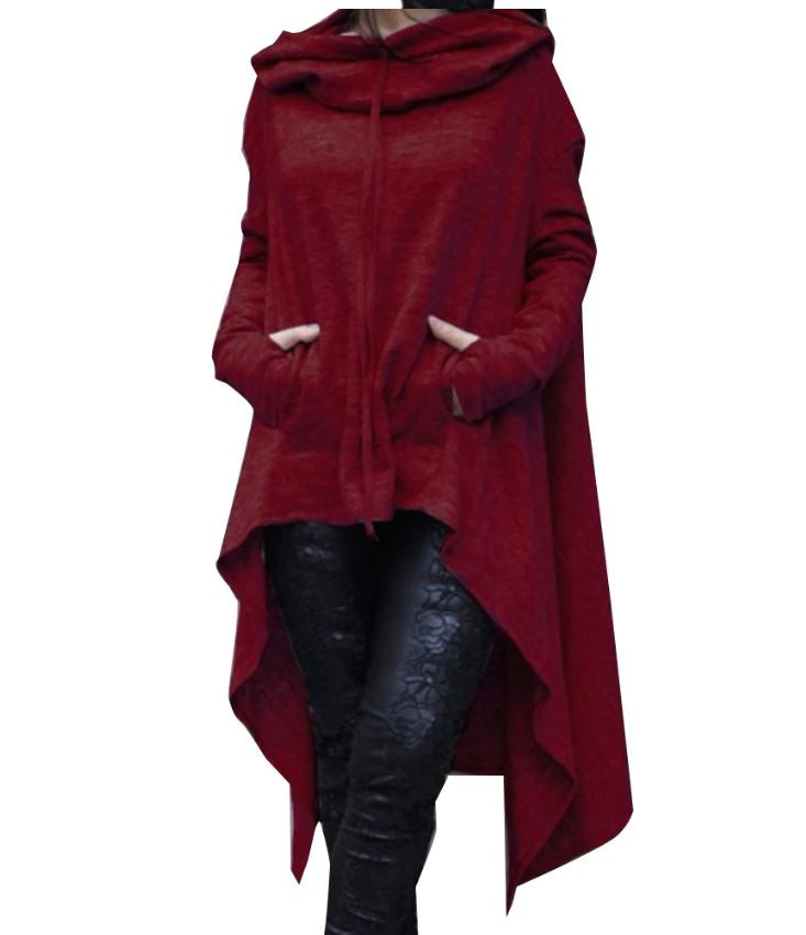 Long Pullover Plus Size Hoodie Wine Red / L - Go Steampunk