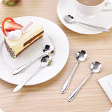 8pcs/set Flower Shape Stainless Steel Tea or Coffee Teaspoons
