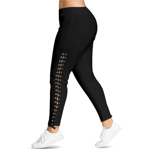 Plus Size Lace Up Grommet Leggings