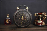 Round Vintage Working Clock Handbag black wash - Go Steampunk