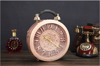 Round Vintage Working Clock Handbag dusty rose - Go Steampunk