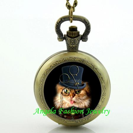 Steampunk Cat Pocket Watch 1 - Go Steampunk