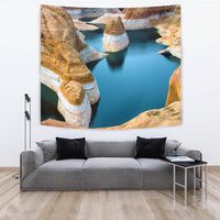 "TAPESTRY ROCK AND WATER TapestryTAPESTRY ROCK AND WATER / Large 104"" x 88"" - Go Steampunk"