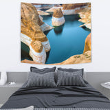 "TAPESTRY ROCK AND WATER TapestryTAPESTRY ROCK AND WATER / Medium 80"" x 68"" - Go Steampunk"