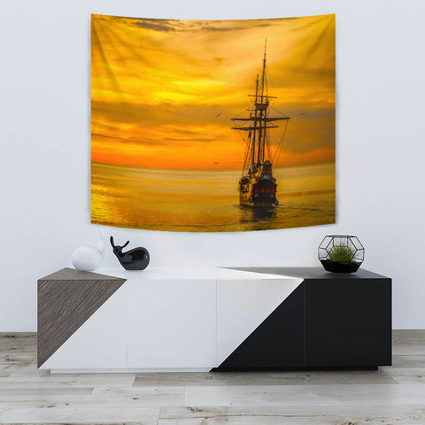"TAPESTRY SHIP AT SEA TapestryTAPESTRY SHIP AT SEA / Small 60"" x 51"" - Go Steampunk"