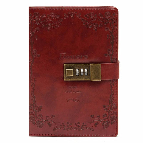 Red Rose Leather Journal With Lock