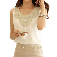 Plus size Lace Collar chiffon blouse - Go Steampunk