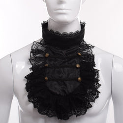Hand Made Steampunk Black Lace Detachable Jabot Collar