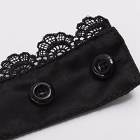 Hand Made Steampunk Black Lace Detachable Jabot Collar - Go Steampunk