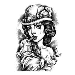 Steampunk Lady Waterproof Temporary Tattoo