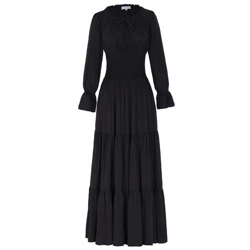 Long Sleeve Floor Length Dress Black / S - Go Steampunk