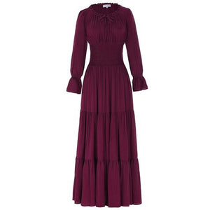 Long Sleeve Floor Length Dress Wine red / S - Go Steampunk