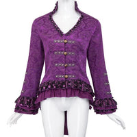 Ladies Vintage Victorian V-Neck Jacquard Coat Purple / XS - Go Steampunk