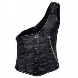 Black Brocade Buckled One-Shoulder Colete Steel Boned Men's Steampunk Corset Waistcoats