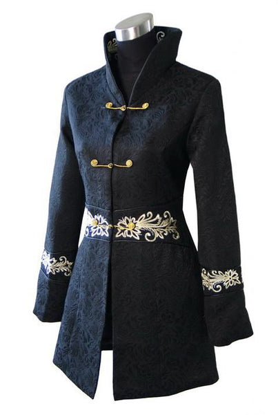 Women's Embroidered Coat Black / S - Go Steampunk