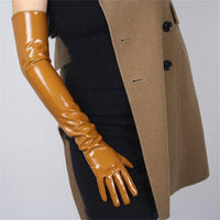 Fau Leather Patent Opera Gloves Patent leather brown / M - Go Steampunk