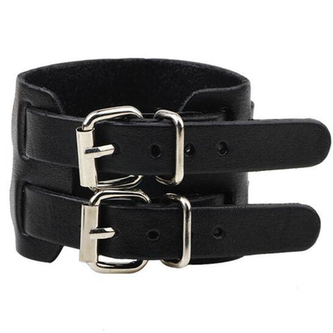Double Strap Adjustable Leather Buckle Wristband