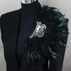 Black Feather Clip Brooch Pin