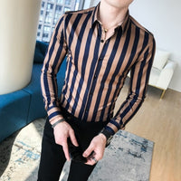 Satin Striped Dress Shirt Coffee / Chinese Size M - Go Steampunk