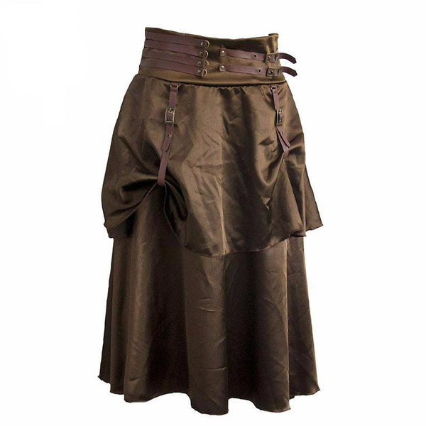 Brown Satin Low Waist 2 Layer Skirt S - Go Steampunk