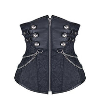 Double Breasted Steampunk Underbust Corsets Black / S / United States - Go Steampunk