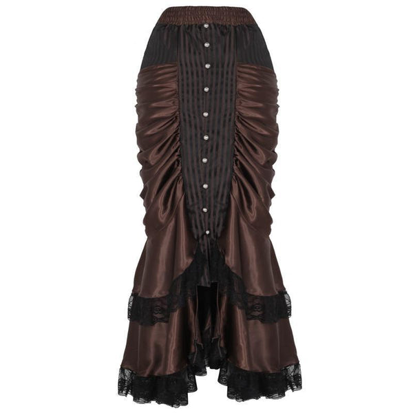 Long Ruffled Satin Steampunk Skirt