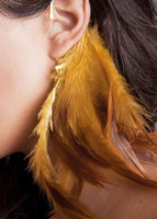 Feather Tassel Wrap Clip Earring Yellow - Go Steampunk