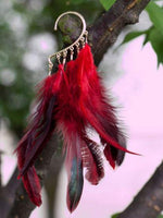 Feather Tassel Wrap Clip Earring Red - Go Steampunk