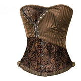 Steampunk Brocade and Stripes Corset with Zipper and Rivets Brown / 6XL - Go Steampunk